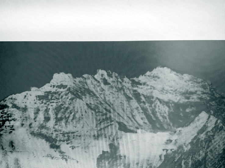 Penelope Umbrico - Swiss Alps with Duotone TVScreen VintageNoir